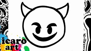 como dibujar un emoji diablo | how to draw emojis