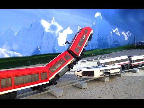 Lego white train vs red