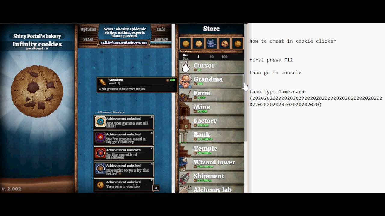 HOW TO <b>CHEAT</b> IN <b>COOKIE CLICKER</b> EASY - YouTube
