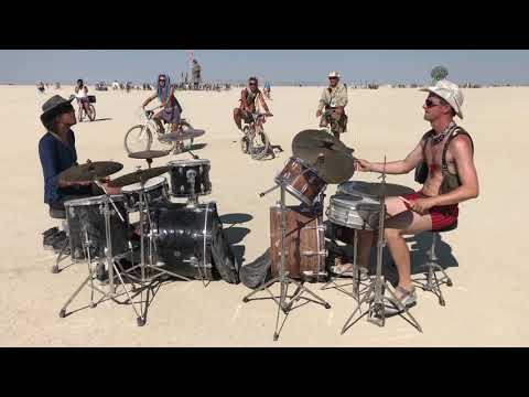 Two drummers in the middle of the Playa - Burning Man 2018