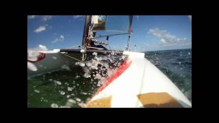 A Class Catamaran Slow motion of pitchpole due to bow hitting reef