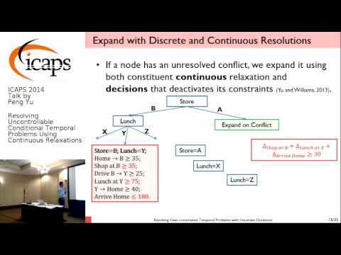 """ICAPS 2014: Peng Yu on """"Resolving Uncontrollable Conditional Temporal Problems Using ..."""""""