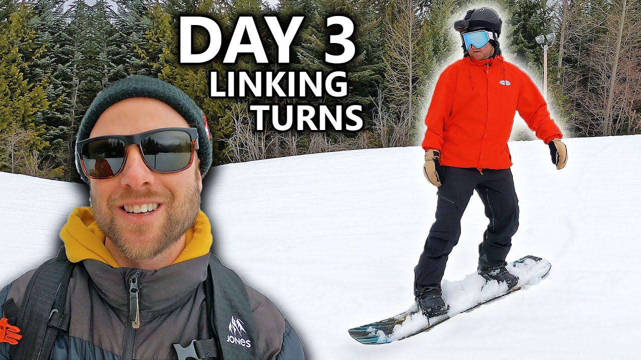 Teaching My Friend To Snowboard - Day 3 - Linking Turns