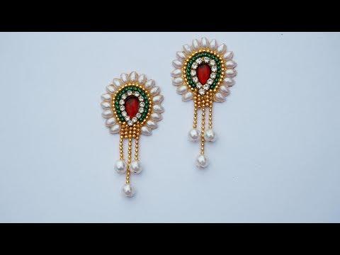 How To Make  Designer Earrings   Paper Earrings   Jewellery Making DIY+earring(earring)diaries