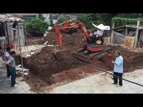 Excavator Digging Foundation House Construction Project Working - Excavator Work Install Foundation