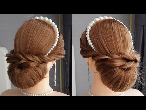 bun-hairstyle-for-party-step-by-step-|-wedding-hairstyle-|-updo-hairstyle-|-easy-hairstyles