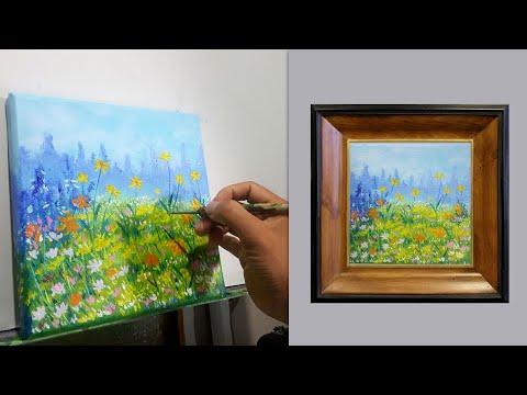 Vẽ tranh acrylic đơn giản cách vẽ hoa cúc dại cực dễ ❤️ Vẽ tranh phong cảnh acrylic #07