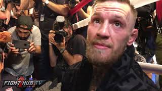 "Conor McGregor reacts to seeing Mayweather train ""I see a beaten man!, I saw fatigue"""