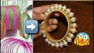 How to Make Designer Pearl Bangle From Old Bangles/Craft from waste bangles.
