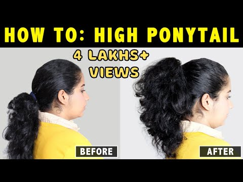 HOW TO: HIGH PONYTAIL ON CURLY, WAVY & FRIZZY HAIR EASILY IN 2 MINUTES !