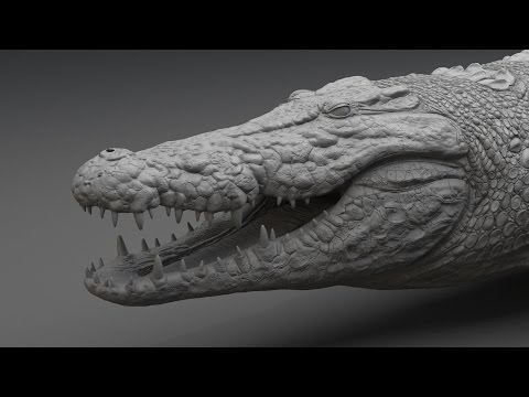Crocodile sculpting time lapse, Zbrush tutorial / Скульптинг крокодила в Zbrush