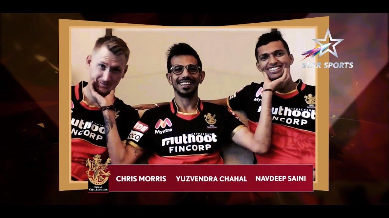 Chris Morris, Yuzvendra Chahal and Navdeep Saini interact with the 12th Man Army