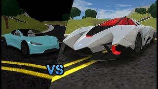 ROBLOX: Fahrzeugsimulator Tesla Roadster 2.0 VS Lamborghini Egoista