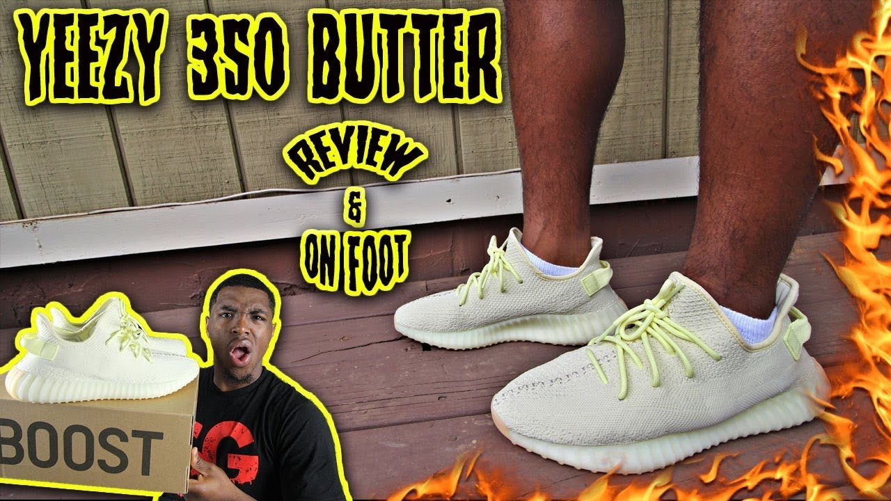 2b929acac7ae2 ADIDAS YEEZY 350 BUTTER REVIEW   ON FEET - YouTube