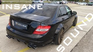 MERCEDES C63 AMG - MONSTER SOUND ACCELERATION ONBOARD AUTOBAHN BURNOUT | AC Performance