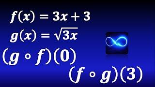 Composición de funciones (Método fácil) evaluada en un punto: fog(3), gof(0)