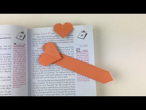 Easy Origami Bookmark   How To Make Bookmarks   DIY Origami Heart Bookmark Tutorial