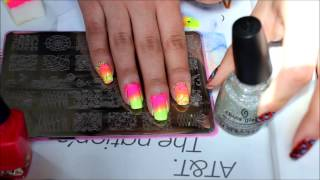 stamping: neon gradient nails with gradient stamp: how to video
