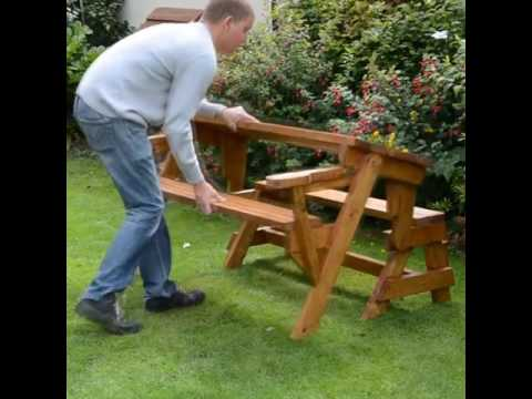 Folding bench and picnic table combo - Folding Bench And Picnic Table Combo - YouTube