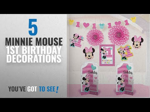 Top 10 Minnie Mouse 1St Birthday Decorations [2018]: 1st Birthday Minnie Mouse Room Decorating Kit