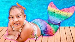 Maria Clara Vira Sereia e Diverte na Piscina   New Funny Stories for Kids - MC Divertida