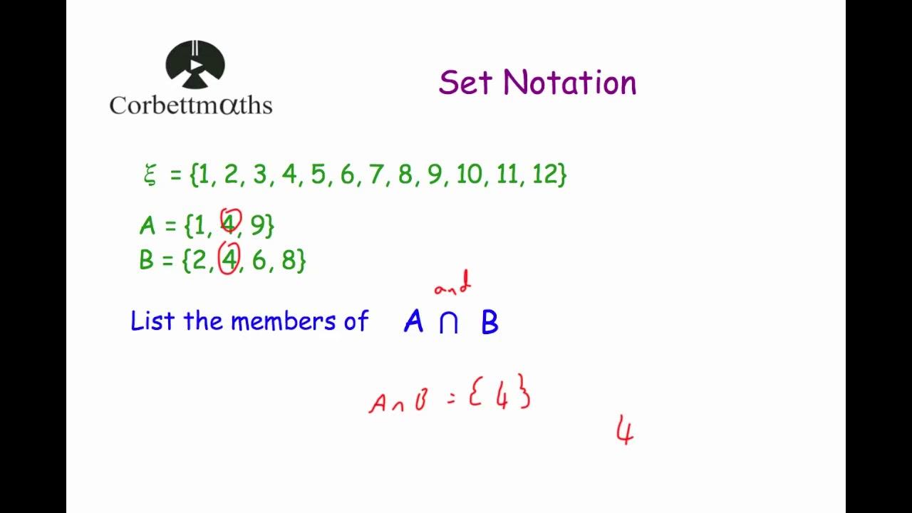 Set Notation - Corbettmaths