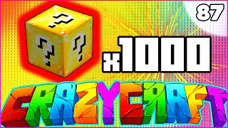 "Minecraft CRAZY CRAFT 3.0 SMP - ""1,000 LUCKY BLOCK OPENING"" - Episode 87"