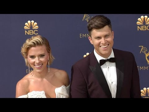 Colin Jost and Scarlett Johansson on the red carpet for the 70th Emmy Awards in Los Angeles