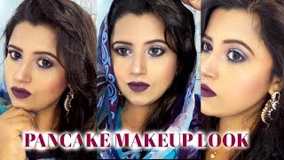 Pancake Makeup look || Blue and Purple eye makeup || Sharmin Soma