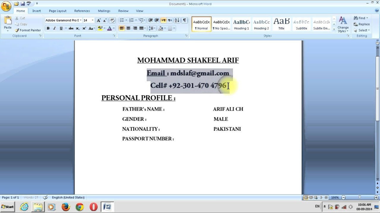 How Can I Make my C.V In My Home In MS Word (Urdu Toturial) - YouTube