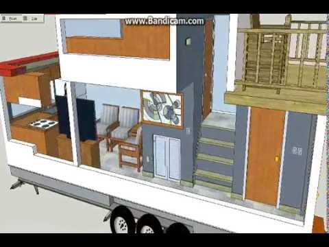 Tiny house with upper deck the galleon sketchup tiny for Two bedroom tiny home