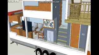 Tiny house with upper deck, the Galleon;Sketchup tiny house design