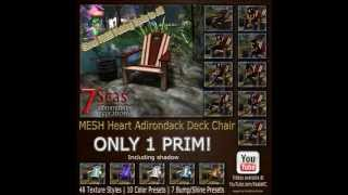 Mesh Heart Adirondack Deck Chair In Second Life® - Animations & Textures Guide