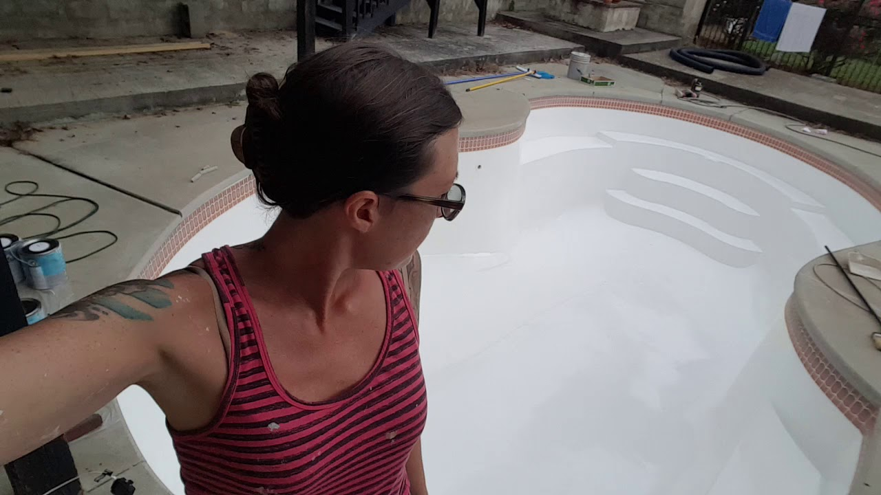 Refinish fiberglass swimming pool with Ramuc EP epoxy paint coating.  Finished!