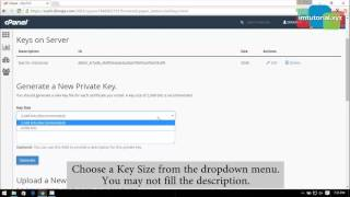 How to Generate a New Private Key in Cpanel