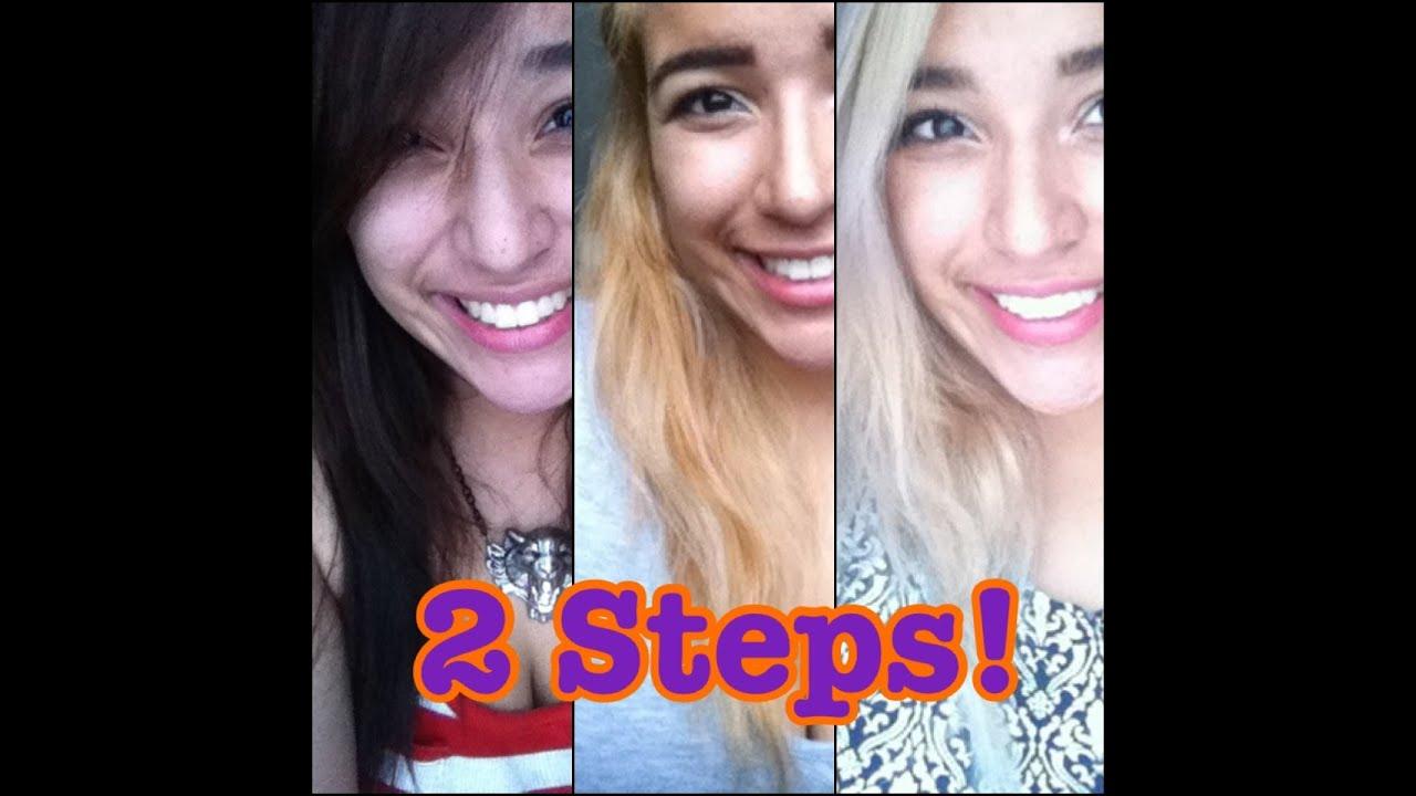 2 Steps Dark Brown To Blonde Hair Light Ash Blonde Youtube