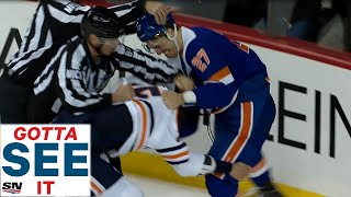 GOTTA SEE IT: Oilers' Nurse Fights Lee After High Stick To The Face
