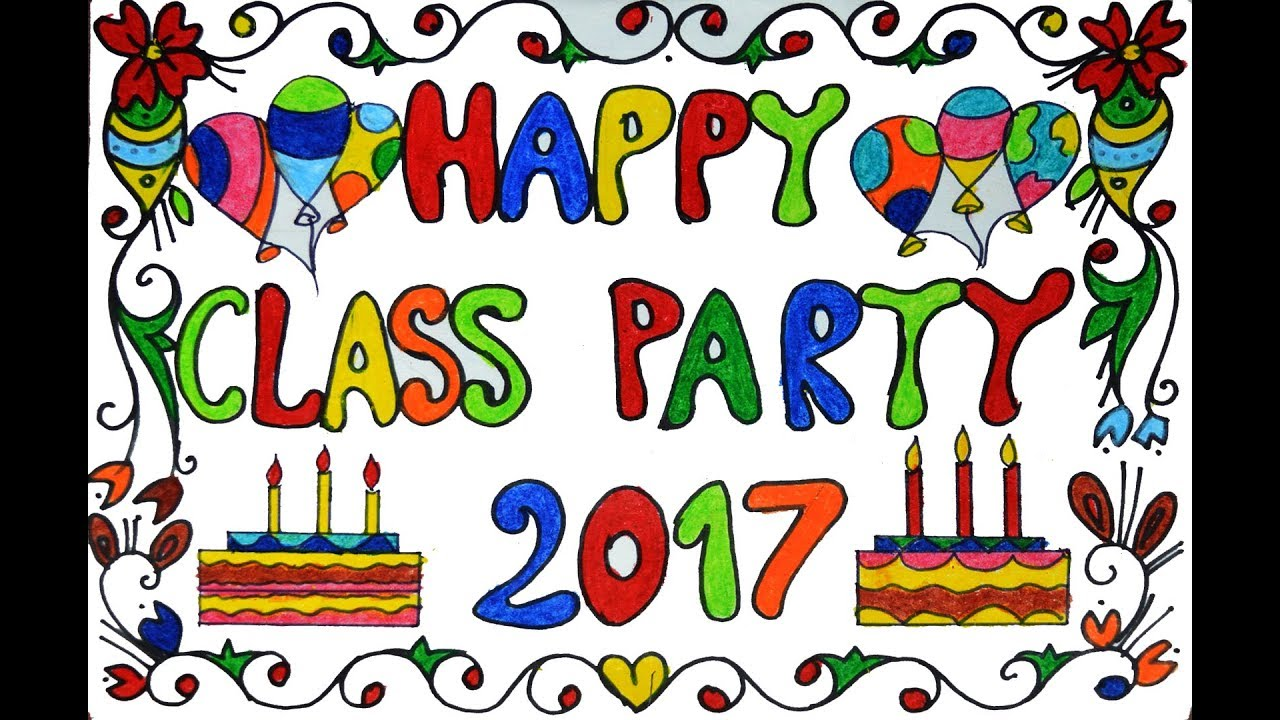 how to draw happy class party happy class party poster drawing