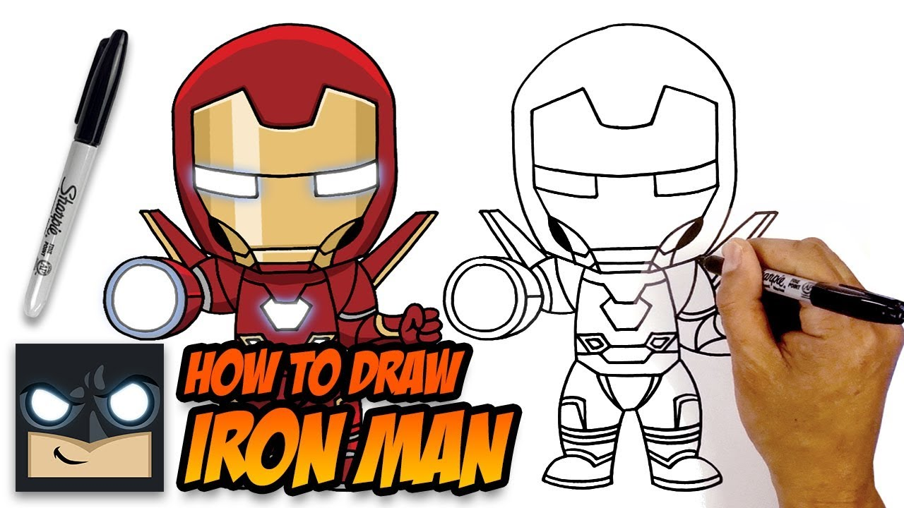 How to draw iron man avengers step by step tutorial