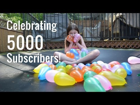 Popping Water Balloons on Our Trampoline - Celebrating 5000 Subscribers - Bethany G