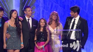 GLAAD President Herndon Graddick introduces trans kids Jazz and Coy at the #glaadawards