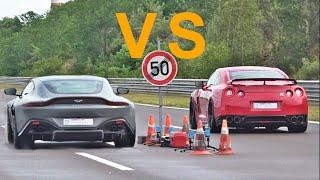 Aston Martin V8 Vantage LOUD Exhaust Sound vs Nissan GTR R35