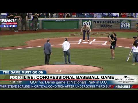 WATCH: Injured Capitol Hill Officer Throws Out First Pitch At Congressional Baseball Game