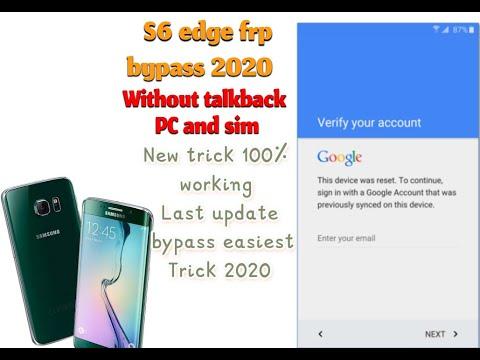 Samsung S6 Edge Frp Bypass 2020 Trick