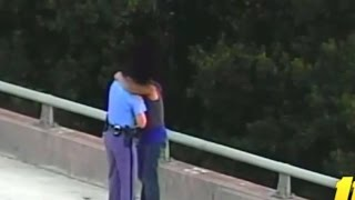 Police Office Hugs Guy after Saving him from Bridge Jump - - Cop Compassion