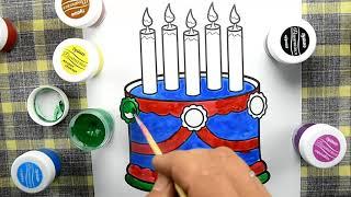 Как раскрасить торт для день рождении уроки для малышей