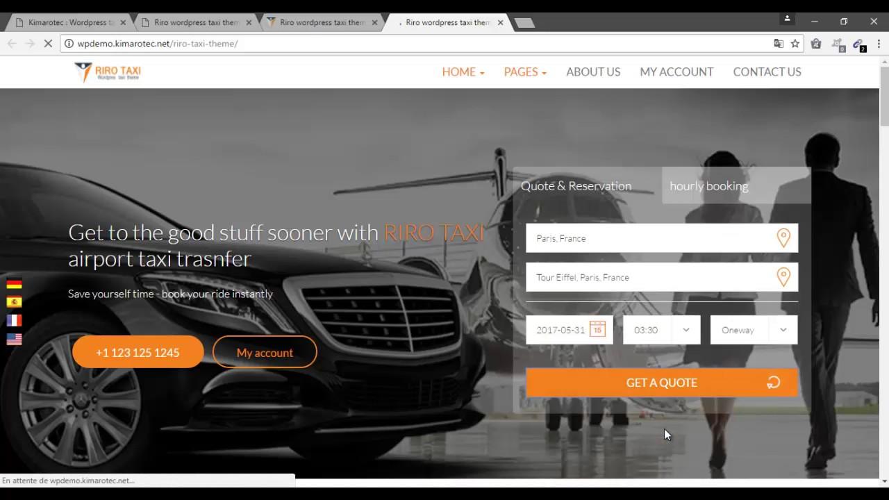 Wordpress taxi booking plugin | theme : Riro taxi template - YouTube
