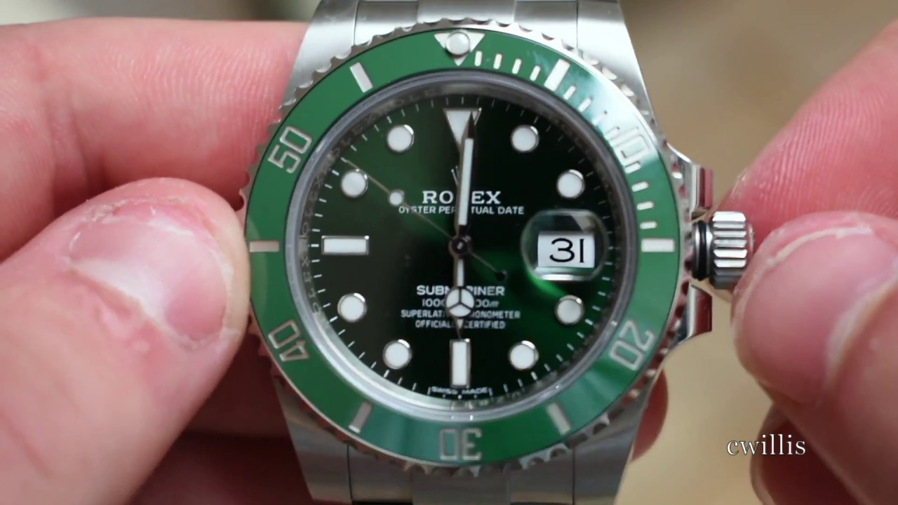 Green Rolex Submariner Hulk How To Wind And Set The Time Date