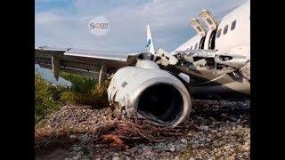 В Сочи пассажирский самолет при посадке скатился в русло реки, повредил крыло и загорелся