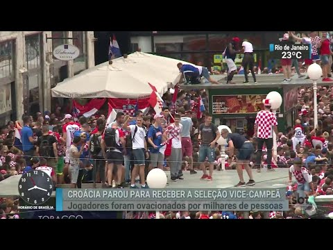 Croatas param para receber seleção vice-campeã do Mundial da Rússia | SBT Brasil (16/07/18)